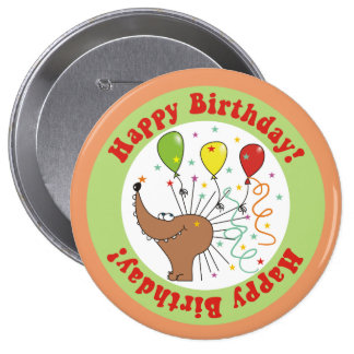 Hedgehog & Confetti Happy Birthday Round Button