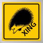 Hedgehog Crossing Highway Sign