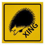Hedgehog Crossing Highway Sign
