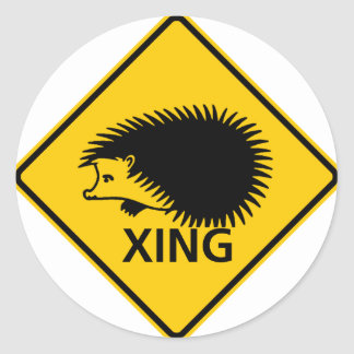 Hedgehog Crossing Highway Sign Round Sticker