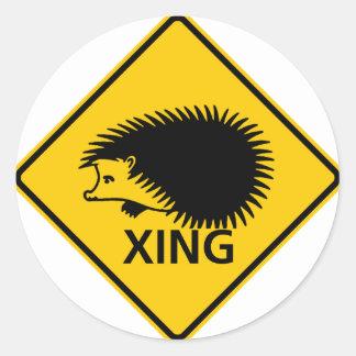 Hedgehog Crossing Highway Sign Round Sticker