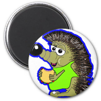 hedgehog dark blue 6 cm round magnet