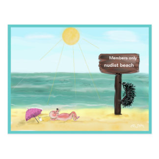 Hedgehog FKK/hedgehog nudist, Postcard