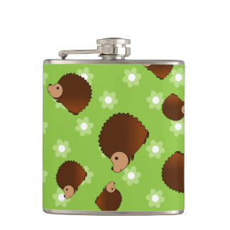 Hedgehog green flowers hip flask