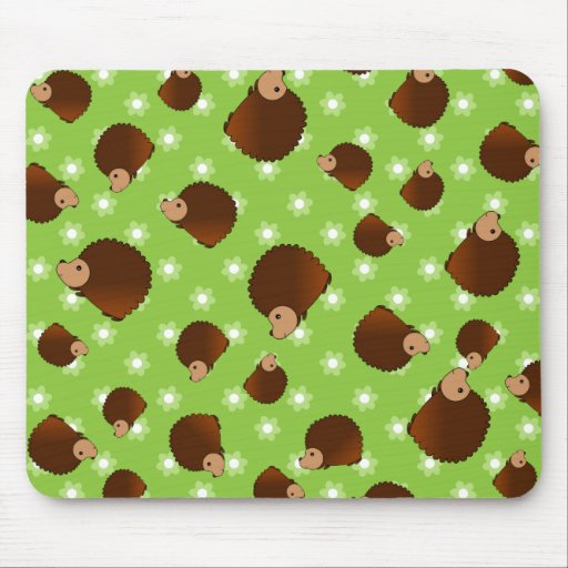 Hedgehog green flowers mouse pad