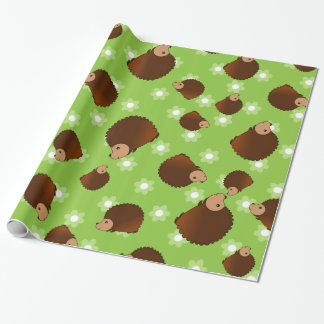 Hedgehog green flowers wrapping paper