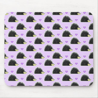 Hedgehog Heart Pattern Purple Mouse Mat