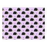 Hedgehog Heart Pattern Purple Postcards