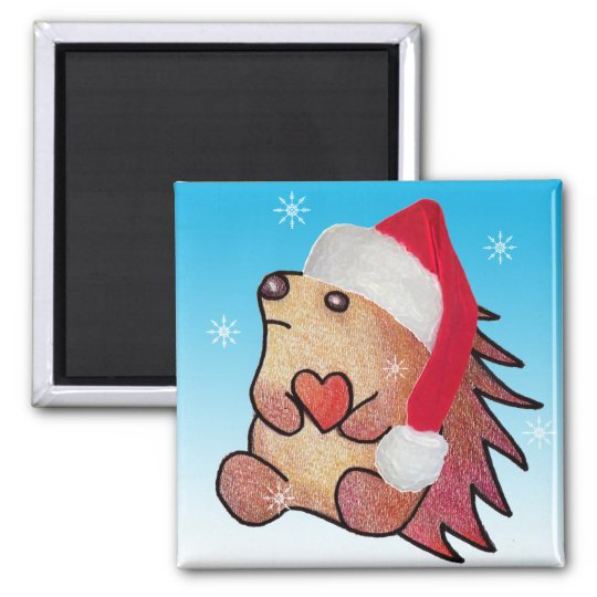 Hedgehog Hearts Santa Magnet