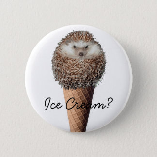 Hedgehog Ice Cream 6 Cm Round Badge