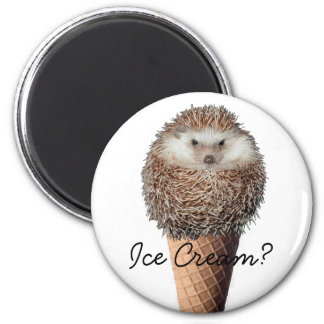 Hedgehog Ice Cream 6 Cm Round Magnet