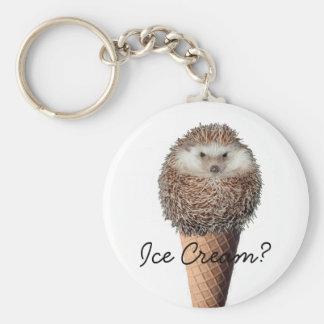 Hedgehog Ice Cream Basic Round Button Key Ring