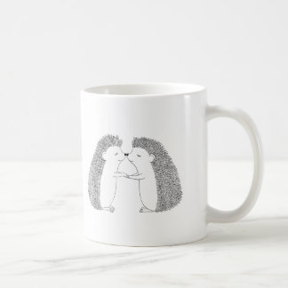 Hedgehog Ink Drawing Cute Hedgehog Friends Love Basic White Mug