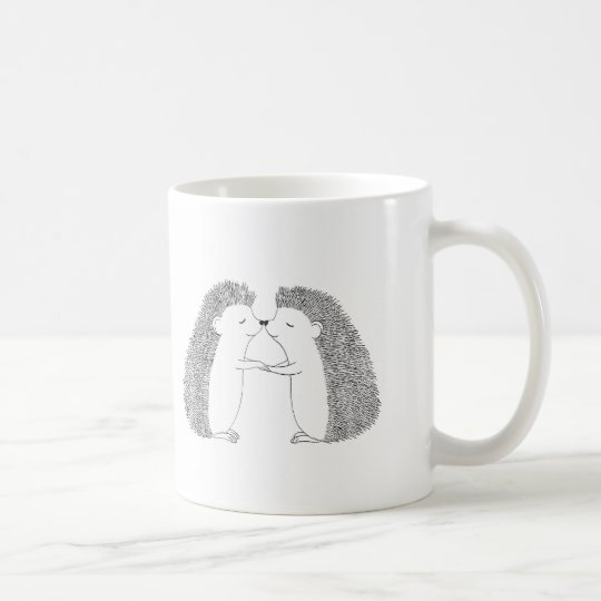 Hedgehog Ink Drawing Cute Hedgehog Friends Love Coffee