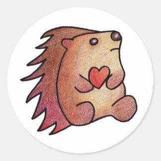 Hedgehog Love! Classic Round Sticker