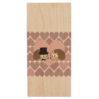 Hedgehog Love with Hearts Wood USB 2.0 Flash Drive