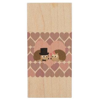 Hedgehog Love with Hearts Wood USB Flash Drive