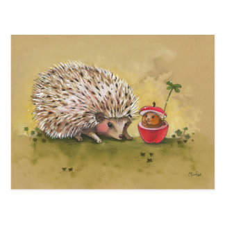 Hedgehog Lucky Clover Afternoon Post Card
