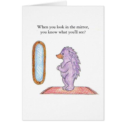 Hedgehog Mirror Birthday Card