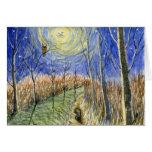 Hedgehog, Owl, Moon and Stars Watercolor Card
