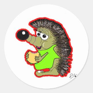 hedgehog red classic round sticker