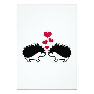 "Hedgehog red hearts love 3.5"" x 5"" invitation card"