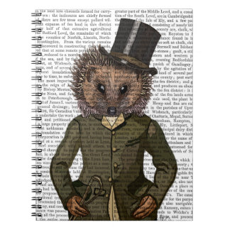 Hedgehog Rider Portrait Spiral Note Book