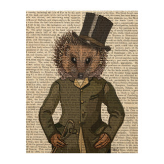 Hedgehog Rider Portrait Wood Wall Art