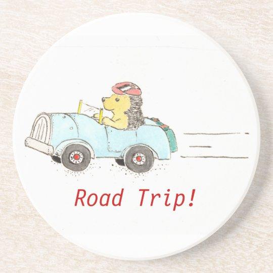 Hedgehog Road Trip Beverage Coaster