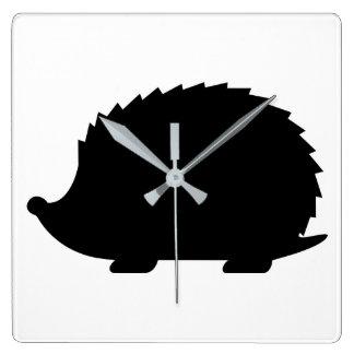 Hedgehog Silhouette Square Wall Clock