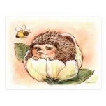 Hedgehog Spring Flower Baby Postcard