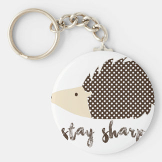 Hedgehog stay sharp basic round button key ring