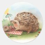 Hedgehog Summer afternoon Round Stickers