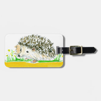 Hedgehog Watercolor Yellow Custom Name Luggage Tag