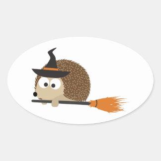 Hedgehog Witch Oval Sticker