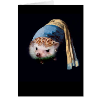 Hedgehog With a Pearl Earring Greeting Card