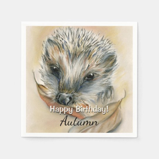 Hedgehog with Autumn Leaves Paper Napkin