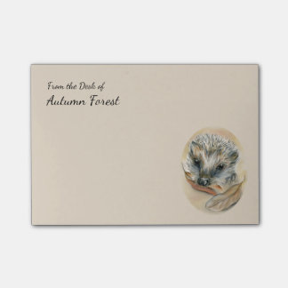 Hedgehog with Autumn Leaves Post-it® Notes