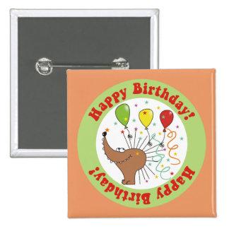 Hedgehog with Confetti Happy Birthday Button
