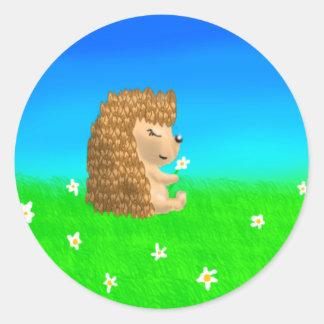 hedgehog with flower classic round sticker