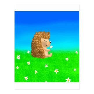 hedgehog with flower postcard