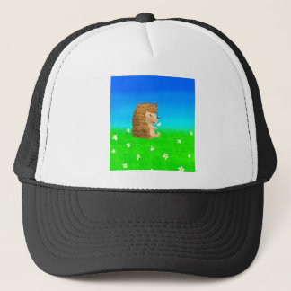 hedgehog with flower trucker hat