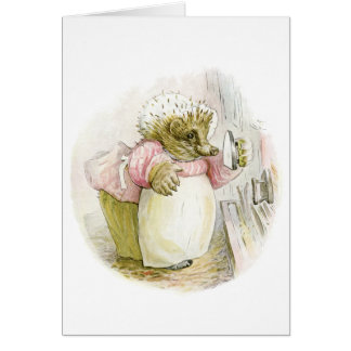 Hedgehog with Iron Mrs Tiggy-Winkle Card