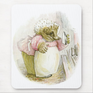 Hedgehog with Iron Mrs Tiggy-Winkle Mouse Mat