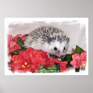 Hedgehog With Orange Flowers Poster