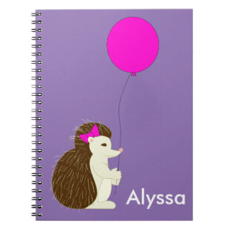 Hedgehog with pink balloon spiral note books