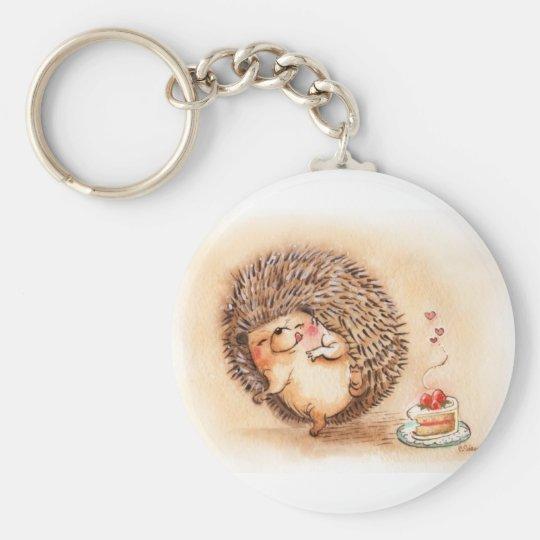 Hedgehog Yum Basic Round Button Key Ring