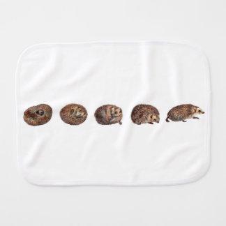 Hedgehogs in a line baby burp cloth