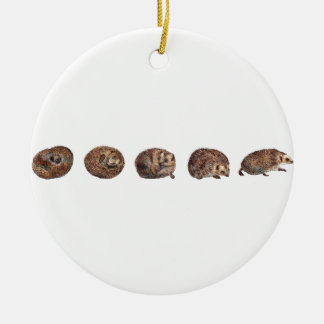 Hedgehogs in a line christmas ornament
