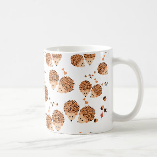 hedgehogs in autumn coffee mug